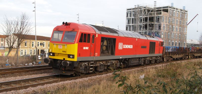 Class 60 Diesel Locomotive 60062 66 062 By Passing Middlesbrough Station With A Westbound Freight Train Of Steel Empties From Lackenby BSC To