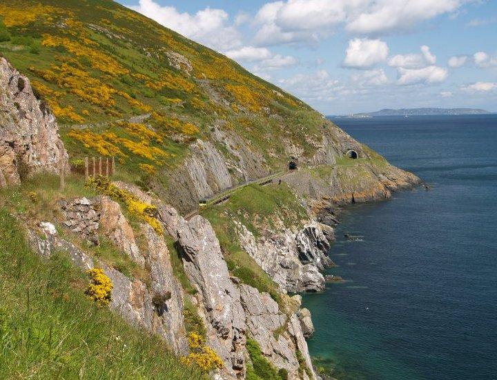 2. The coastal Dublin-Wexford railway line at Bray Head