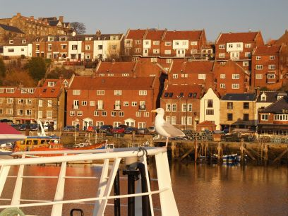 Endeavour Captain Cook's ship replica Whitby Harbour scenes and views, Whitby Marina Upper ...